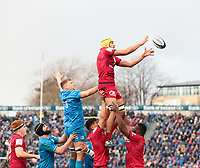 12th January 2020; RDS Arena, Dublin, Leinster, Ireland; Heineken Champions Champions Cup Rugby, Leinster versus Lyon Olympique Universitaire; Virgile Bruni (Lyon) gathers clean lineout ball - Editorial Use