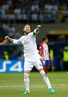 Calcio, finale di Champions League: Real Madrid vs Atletico Madrid. Stadio San Siro, Milano, 28 maggio 2016.<br /> Real Madrid's Sergio Ramos celebrates after scoring during the the Champions League final match between Real Madrid and Atletico Madrid, at Milan's San Siro stadium, 28 May 2016.<br /> UPDATE IMAGES PRESS/Isabella Bonotto