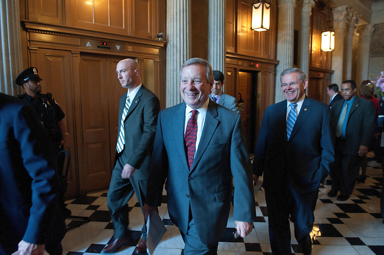 UNITED STATES - May 11: Senate Assistant Majority Leader Richard Durbin, D-Ill.; and Sen. Robert Menendez, D-N.J. make their way to a news conference on the DREAM Act. (Photo By Douglas Graham/Roll Call)