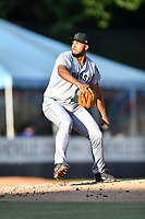 Augusta GreenJackets starting pitcher Joey Marciano (13) delivers a pitch during a game against the Asheville Tourists at McCormick Field on June 15, 2018 in Asheville, North Carolina. The Tourists defeated the GreenJackets 6-5. (Tony Farlow/Four Seam Images)