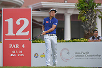 Yuxin LIN (CHN) watches his tee shot on 12 during Rd 2 of the Asia-Pacific Amateur Championship, Sentosa Golf Club, Singapore. 10/5/2018.<br /> Picture: Golffile | Ken Murray<br /> <br /> <br /> All photo usage must carry mandatory copyright credit (© Golffile | Ken Murray)