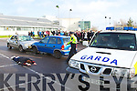 Emergency services at the scene of a simulated crash demonstration at the IT Tralee on Thursday.