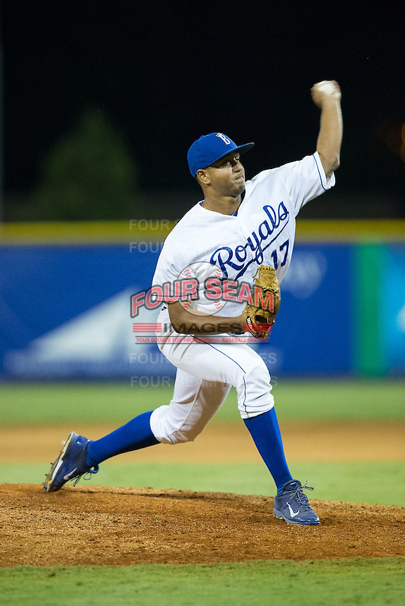 Burlington Royals relief pitcher Christian Flecha (17) delivers a pitch to the plate against the Johnson City Cardinals at Burlington Athletic Park on August 22, 2015 in Burlington, North Carolina.  The Cardinals defeated the Royals 9-3. (Brian Westerholt/Four Seam Images)