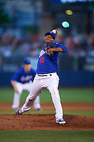 Tulsa Drillers pitcher Jorge De Leon (18) delivers a pitch during a game against the Midland RockHounds on June 2, 2015 at Oneok Field in Tulsa, Oklahoma.  Midland defeated Tulsa 6-5.  (Mike Janes/Four Seam Images)