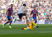 Vicente Guaita of Crystal Palace gets to the ball before Son Heung-Min of Tottenham Hotspur during the Premier League match between Tottenham Hotspur and Crystal Palace at Wembley Stadium, London, England on 14 September 2019. Photo by Vince  Mignott / PRiME Media Images.