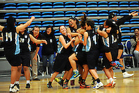 Action from the 2014 College Sport Wellington senior girls' Basketball Championship division one final between Mana College (green) and Naenae College (navy and sky blue) at Te Rauparaha Arena, Porirua, Wellington, New Zealand on Thursrday, 28 August 2014. Photo: Dave Lintott / lintottphoto.co.nz