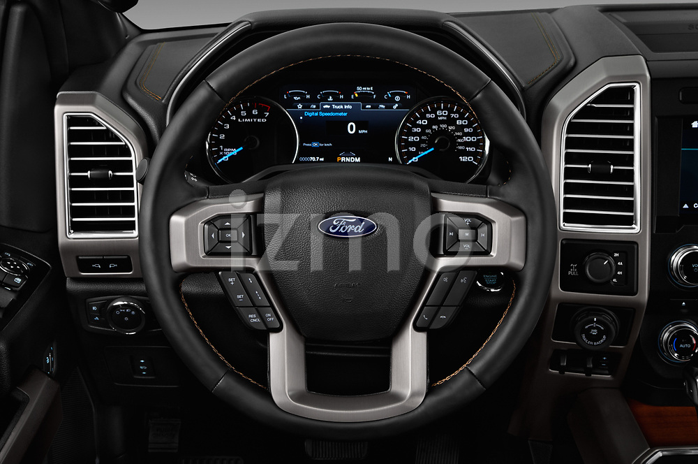 Car pictures of steering wheel view of a 2017 Ford F-150 Limited-SuperCrew 4 Door Pickup Steering Wheel