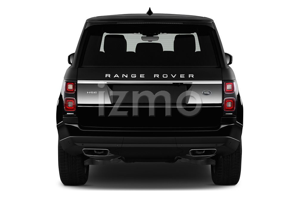 Straight rear view of a 2019 Land Rover Range-Rover HSE 5 Door SUV stock images