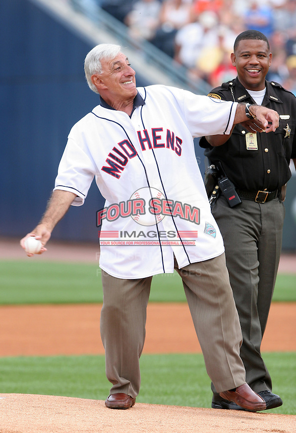 Actor James Farr throws out the first pitch before the Triple-A All-Star Game at Fifth Third Field on July 10, 2006 in Toledo, Ohio.  (Mike Janes/Four Seam Images)
