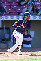 Cedar Rapids Kernels second baseman Yeltsin Encarnacion (43) swings at a pitch during a Midwest League game against the Peoria Chiefs on May 26, 2019 at Perfect Game Field in Cedar Rapids, Iowa. Cedar Rapids defeated Peoria 14-1. (Brad Krause/Four Seam Images)