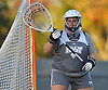Lauren Young #28, New York Institute of Technology goalie, guards the net during women's lacrosse team practice on NYIT's campus in Old Westbury on Wednesday, Oct. 19, 2016.