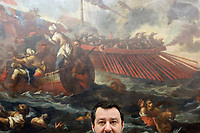 Senator Matteo Salvini<br /> Rome November 13th 2019. Salvadori Hall. Press conference of the Lega Nord party on the economic maneuver.<br /> Foto  Samantha Zucchi Insidefoto