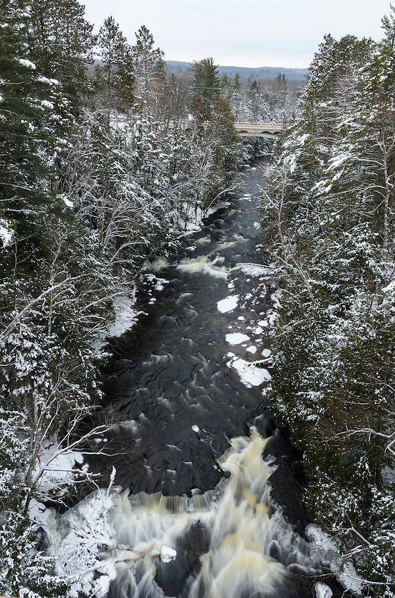 An amazing view high above the middle branch of the Ontonagon River after a fresh snowfall. Trout Creek, MI - 1/1/16.