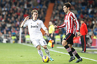 Real Madrid CF vs Athletic Club de Bilbao (5-1) at Santiago Bernabeu stadium. The picture shows Luca Modric and Andoni Iraola. November 17, 2012. (ALTERPHOTOS/Caro Marin) NortePhoto