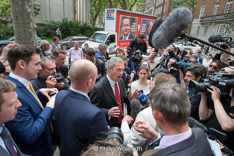 UKIP leader Nigel Farage launches new EU Referendum campaign poster, London