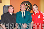 Michael O'Sullivan left and Jamie Kelleher who played the Scannell Plate Darts final with Pat Gill in Darby O'Gill's Killarney Friday night .