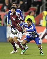 David Ferreira#10 of FC Dallas pushes away from Pablo Mastroeni#25 of the Colorado Rapids during MLS Cup 2010 at BMO Stadium in Toronto, Ontario on November 21 2010. Colorado won 2-1 in overtime.
