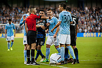 Kansas City, KS - Wednesday August 9, 2017: Nima Saghafi, Darwin Ceren, Diego Rubio, Daniel Salloi during a Lamar Hunt U.S. Open Cup Semifinal match between Sporting Kansas City and the San Jose Earthquakes at Children's Mercy Park.