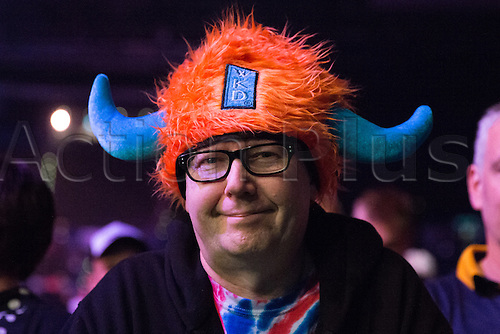 28.04.2016. Barclaycard Arena, Birmingham, England. Betway PDC Premier League Darts. Night 13. A fan ready to watch the darts in fancy dress