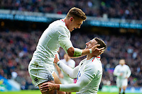 Jonny May of England celebrates his second try with team-mate Henry Slade. Guinness Six Nations match between England and France on February 10, 2019 at Twickenham Stadium in London, England. Photo by: Patrick Khachfe / Onside Images