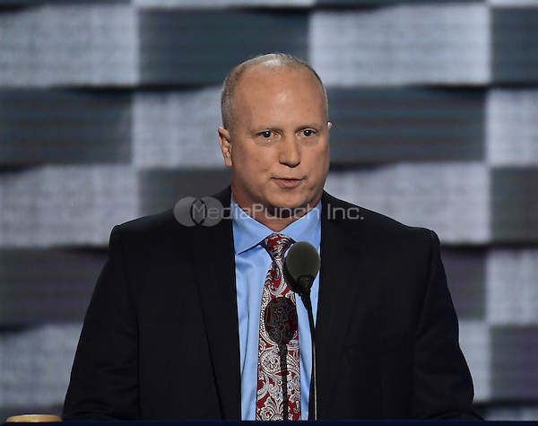 Joe Sweeney, who was a detective with the NYPD on September 11, 2001 when the towers were hit.  He rushed down to the World Trade Center and began digging through the rubble for survivors, makes remarks during the second session of the 2016 Democratic National Convention at the Wells Fargo Center in Philadelphia, Pennsylvania on Tuesday, July 26, 2016.<br /> Credit: Ron Sachs / CNP/MediaPunch<br /> (RESTRICTION: NO New York or New Jersey Newspapers or newspapers within a 75 mile radius of New York City)