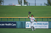 Surprise Saguaros right fielder LaMonte Wade (15), of the Minnesota Twins organization, prepares to catch a fly ball during a game against the Mesa Solar Sox on October 20, 2017 at Sloan Park in Mesa, Arizona. The Solar Sox walked-off the Saguaros 7-6.  (Zachary Lucy/Four Seam Images)