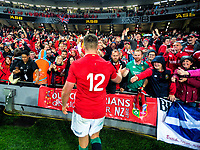 Owen Farrell thanks fans after the 2017 DHL Lions Series rugby union 3rd test match between the NZ All Blacks and British & Irish Lions at Eden Park in Auckland, New Zealand on Saturday, 8 July 2017. Photo: Dave Lintott / lintottphoto.co.nz