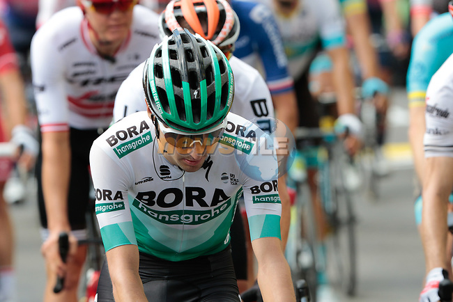 Emanuel Buchmann (GER) Bora-Hansgrohe crosses the finish line at the end of Stage 12 of the 2019 Tour de France running 209.5km from Toulouse to Bagneres-de-Bigorre, France. 18th July 2019.<br /> Picture: ASO/Colin Flockton | Cyclefile<br /> All photos usage must carry mandatory copyright credit (© Cyclefile | Colin Flockton)