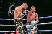 30th September 2017, Echo Arena, Liverpool, England; Matchroom Boxing, Eliminator for WBA Bantamweight World Championship;  Paul Butler versus Stuart Hall; Paul Butler connects with a right hook on Stuart Hall