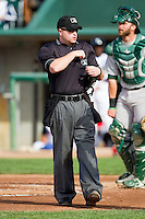 Home plate umpire Jeff Andrews during the Midwest League game between the Beloit Snappers and the Lansing Lugnuts at Cooley Law School Stadium on May 5, 2013 in Lansing, Michigan.  The Lugnuts defeated the Snappers 5-4.  (Brian Westerholt/Four Seam Images)