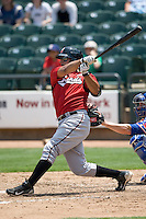 Nashville Sounds first baseman Mike Rivera #11 swings against the Round Rock Express in Pacific Coast League baseball on May 9, 2011 at the Dell Diamond in Round Rock, Texas. (Photo by Andrew Woolley / Four Seam Images)