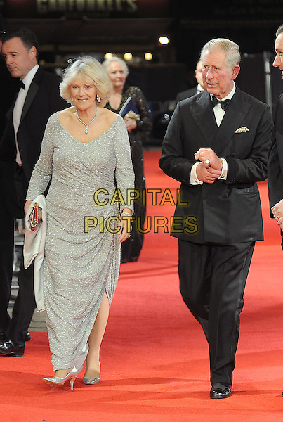Camilla Duchess of Cornwall and Prince Charles.The Royal Film Performance of 'Hugo' in 3D, Odeon Leicester Square, London, England..28th November 2011.full length black dress tuxedo silver beads beaded royals royalty parker bowles wales married husband wife.CAP/BEL.©Tom Belcher/Capital Pictures.