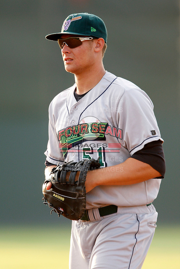 July 24, 2009:  First Baseman Kyle Jensen of the Jamestown Jammers  during a game at Dwyer Stadium in Batavia, NY.  The Jammers are the NY-Penn League Short-Season Single-A affiliate of the Florida Marlins.  Photo By Mike Janes/Four Seam Images