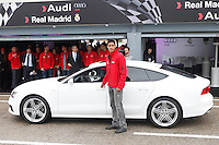 Real Madrid player Raphael Varane participates and receives new Audi during the presentation of Real Madrid's new cars made by Audi at the Jarama racetrack on November 8, 2012 in Madrid, Spain.(ALTERPHOTOS/Harry S. Stamper) .<br />
