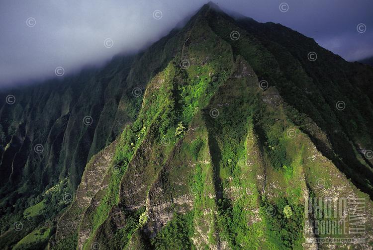 Aerial of the Koolau mountain range located on the windward side of Oahu