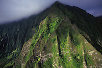 Aerial of the Koolau mountain range located on the windward side of Oahu