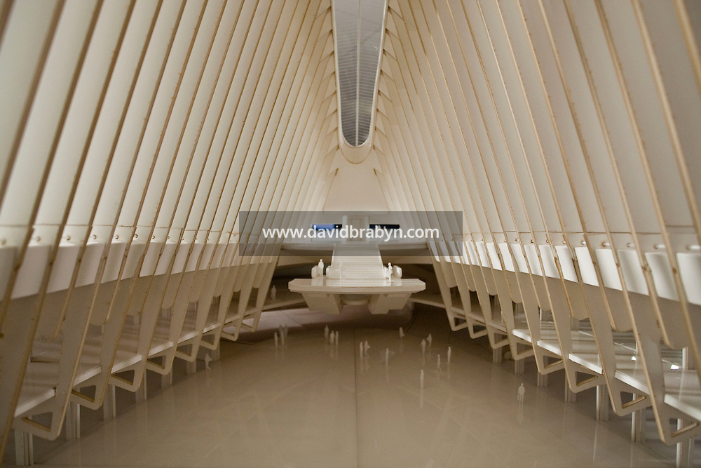 View inside a model of the future New York City World Trade Center Transportation Hub designed by Spanish architect Santiago Calatrava, designer, on display in New York, USA, 8 May 2009.