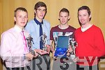 Scott Moloney, youth player of the year, Jack O'Neill, U17 player of the year, Peter McCarthy, senior A player of the year and Alan O'Brien, senior B player of the year at the Killarney Celtic awards night in the Killarney Avenue Hotel on Friday night.