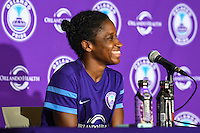Orlando, FL - Thursday June 23, 2016: Jasmyne Spencer during a regular season National Women's Soccer League (NWSL) match between the Orlando Pride and the Houston Dash at Camping World Stadium.