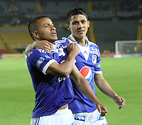 BOGOTÁ -COLOMBIA, 19-04-2013. Jhony Ramírez y Fredy Montero de Millonarios celebran el primer gol ante Itagüi durante partido de la fecha 12 Liga Postobón 2013-1./ Jhony Ramírez and Fredy Montero of Millonarioscelebrate the first goal against Itagüi during match of the12th date of Postobon  League 2013-1. Photo: VizzorImage/Felipe Caicedo/Staff
