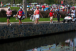 CHON BURI, THAILAND - FEBRUARY 20:  Yani Tseng of Taiwan and Michelle Wie of USA cross a bridge on the 11th hole during day four of the LPGA Thailand at Siam Country Club on February 20, 2011 in Chon Buri, Thailand. Photo by Victor Fraile / The Power of Sport Images