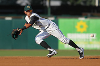 Kane County Cougars shortstop Jack Lopez #1 dives for a ball during a game against the Beloit Snappers at Fifth Third Bank Ballpark on June 26, 2012 in Geneva, Illinois. Beloit defeated Kane County 8-0. (Brace Hemmelgarn/Four Seam Images)