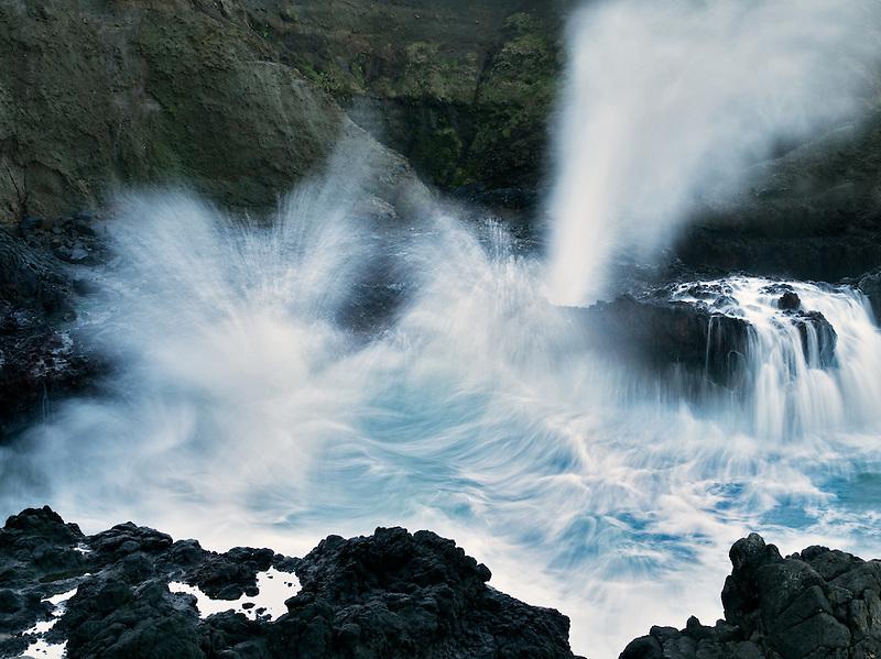 Crashing waves and blow hole. Cooks Chasm, Cape Perpetua. Oregon