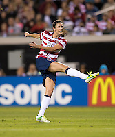 Yael Averbuch (25) of the USWNT takes a shot during the game at EverBank Field in Jacksonville, Florida.  The USWNT defeated Scotland, 4-1.