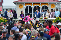 Baltimore, MD - May 18, 2019: Jockey Tyler Gaffalione enters the winner's circle aboard War of Will after winning the 144th running of the Preakness at the Pimlico Race Course in Baltimore, MD May 18, 2019.  (Photo by Don Baxter/Media Images International)
