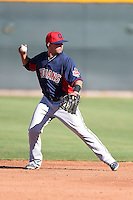 Cleveland Indians infielder Drake Roberts (9) during an Instructional League game against the Seattle Mariners on October 1, 2014 at Goodyear Training Complex in Goodyear, Arizona.  (Mike Janes/Four Seam Images)