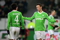 FUSSBALL   1. BUNDESLIGA   SAISON 2012/2013    22. SPIELTAG VfL Wolfsburg - FC Bayern Muenchen                       15.02.2013 Marcel Schaefer (li) und Ivan Perisic (re, beide VfL Wolfsburg) sind enttaeuscht