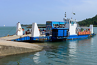 TANZANIA Tanga, ferry with bus on Pangani river mouth at Inian Ocean / TANSANIA Tanga, Fähre mit Bus