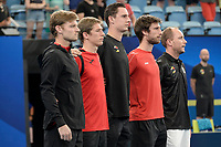 10th January 2020; Sydney Olympic Park Tennis Centre, Sydney, New South Wales, Australia; ATP Cup Australia, Sydney, Day 8; Belgium versus Spain; Kimmer Coppejans of Belgium versus Roberto Bautista Agut of Spain; Team Belgium line up for the national anthems - Editorial Use