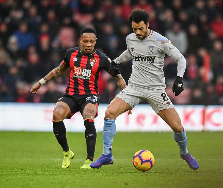 West Ham United's Felipe Anderson (right) under pressure from Bournemouth's Nathaniel Clyne (left) <br /> <br /> Photographer David Horton/CameraSport<br /> <br /> The Premier League - Bournemouth v West Ham United - Saturday 19 January 2019 - Vitality Stadium - Bournemouth<br /> <br /> World Copyright &copy; 2019 CameraSport. All rights reserved. 43 Linden Ave. Countesthorpe. Leicester. England. LE8 5PG - Tel: +44 (0) 116 277 4147 - admin@camerasport.com - www.camerasport.com